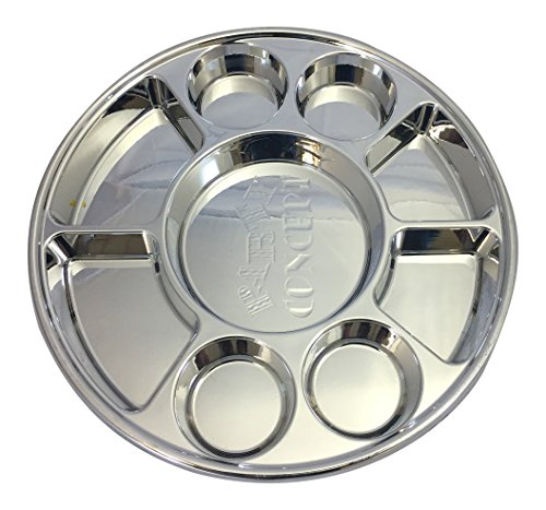 Movie Time Video 100 Piece 9 Compartments Round Disposable Party Tray/Thali/Plates, Silver by Movie Time Video