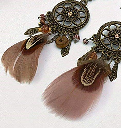 Dangle Clip on Earring Punk Vintage Long Tassel Feather Beads Drop Pendant Hook Girls