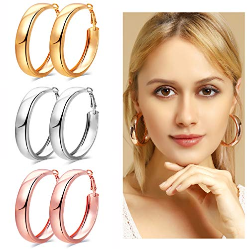 50mm Hoop - 3 Pairs Fashion Hoop Earrings,50mm Stainless Steel Big Hoop Earrings in Gold Plated Rose Gold Plated Silver for Women Girls
