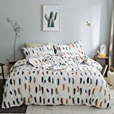 VM VOUGEMARKET Colorful Feather Duvet Cover Set Queen,3 Pieces Lightweight Cotton Reversible Bright Bedding Set with Zipper Closure-Full/Queen,Feather