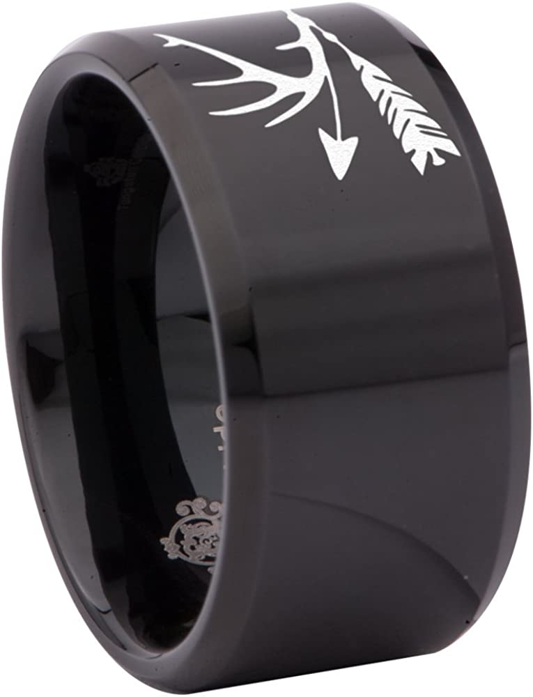 Friends of Irony Black Tungsten Carbide Trophy Antler /& Arrows Ring 12mm Wedding Band and Anniversary Ring for Men and Women Size 7.5