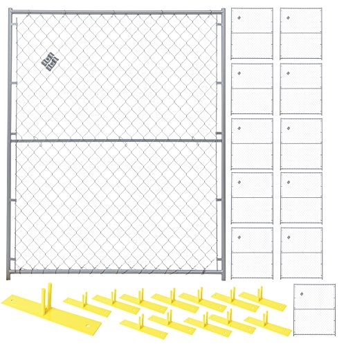 Crowd Control Temporary Fence Panel Kit - Perimeter Patrol Portable Security Fence - Safety Barrier for protecting property, construction sites, outdoor events. 5'W x 6'H Silver Chain Link - 12 ()