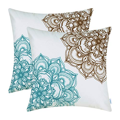 CaliTime Pack of 2 Cozy Fleece Throw Pillow Cases Covers for Couch Bed Sofa Vintage Dahlia Floral Both Sides 20 X 20 Inches Brown Teal (And Pillows Brown Turquoise)