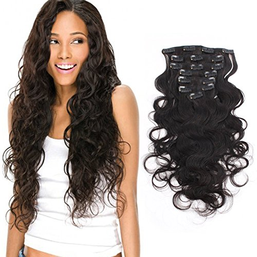 Beauty : AmazingBeauty Remy Body Wave Clip In Extensions 8A Grade Natural Black Thick 100% Virgin Hair 10-22inch 7 Pieces with 18 Clips 120g/4.2oz per Set For Full Head 12 inch