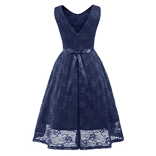 Swing O Tie Sleeveless Dress Neck Lady Bow for Waist Dress Sexy Front Linaking Hipsters Blue Lace pvwH1wq