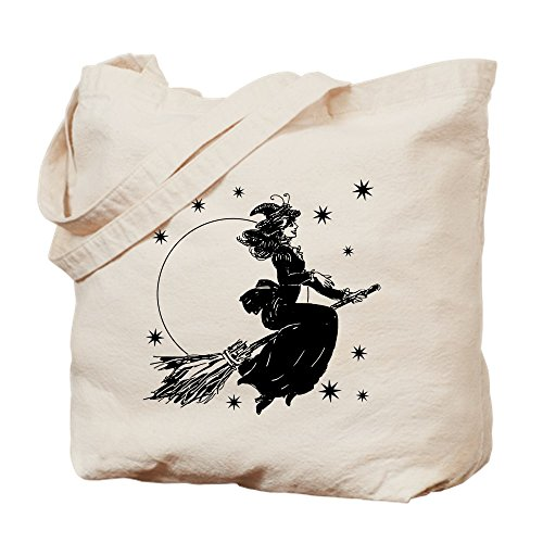 CafePress Old Fashioned Witch Natural Canvas Tote Bag, Cloth Shopping Bag