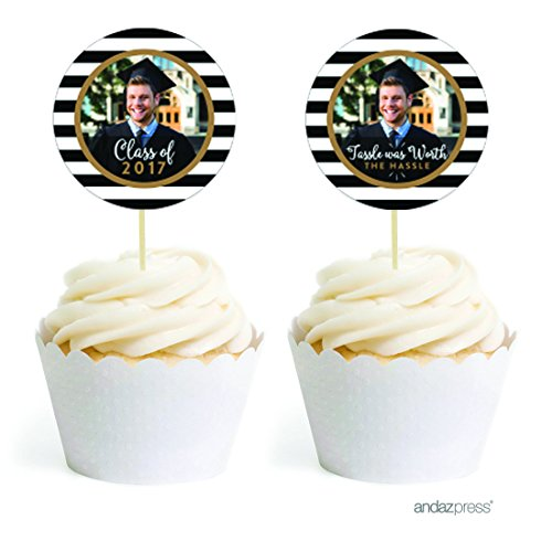 Andaz Press Personalized Graduation Photo Party Collection, Cupcake Topper DIY Party Favors Kit, Round Shape, 20-Pack, Custom Image ()