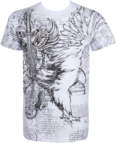 (TG427T Eagle,Sword and Chains Metallic Silver Embossed Short Sleeve Crew Neck Cotton Mens Fashion T-Shirt -)