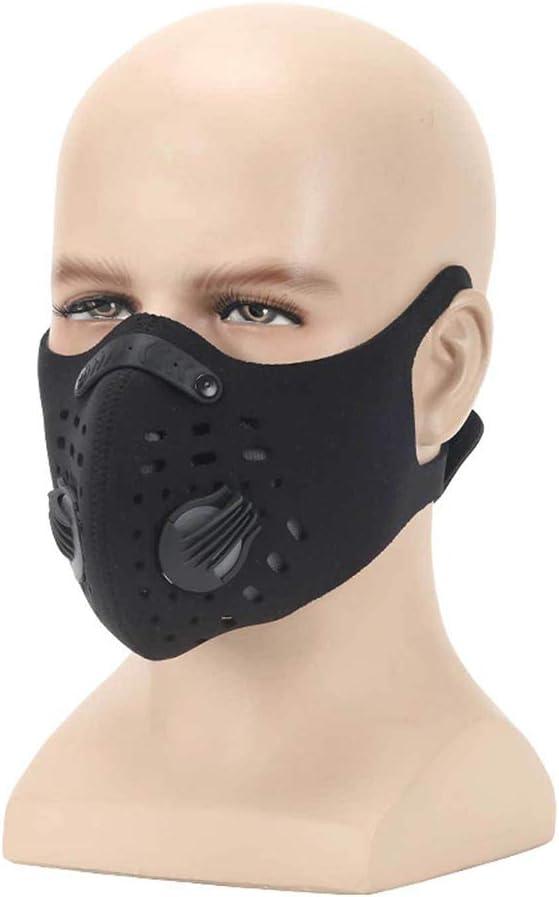 XCBW Respirador con máscara Antipolvo, mascarilla Deportiva antipolución al Aire Libre, con Filtro de carbón Activado, Protege contra el Polvo, Gases de Escape, alergia al Polen,Black