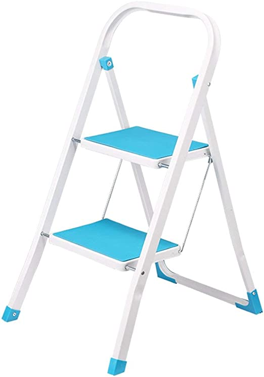 Taburete de escalera plegable de hierro de 2 escalones con ...