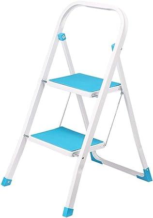 Taburete de escalera plegable de hierro de 2 escalones con reposabrazos Peldaños antideslizantes Espesamiento Hogar Herramienta de cocina portátil para jardín Taburetes de tijera Capacidad de 150 kg (Color: azul): Amazon.es: Hogar