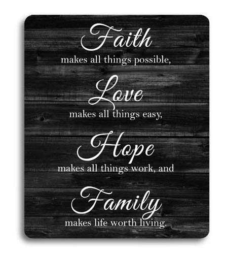 Knseva Inspirational Quote Rustic Black Wood Mouse Pad, Faith Makes All  Things Possible Love Makes All Things Easy Hope Make All Things Work,  Positive ...