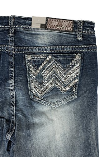 Grace in LA Idol Jeans Easy Fit Abstract Aztec Gery Heavy Stitched Straight Leg Plus Size (17)