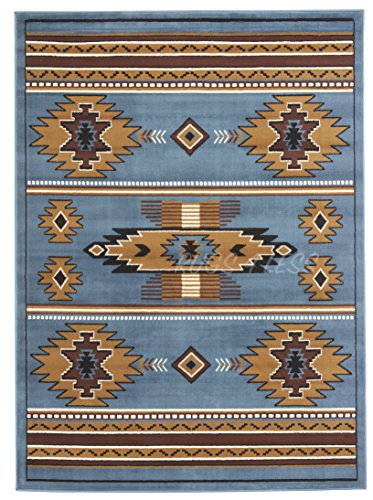 Rugs 4 Less Collection Southwest Native American Indian Area Rug Design R4L SW3 in Light Blue (5'X7')