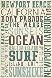 Newport Beach, California - Typography (9x12 Collectible Art Print, Wall Decor Travel Poster)
