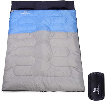 Hiking Bag Backpacking Double Sleeping Bag for Two Adults//Teens W// 2 Pillows SereneLife Backpacking Sleeping Bag Camping Gear Outdoor Lightweight Weather Proof Sleeping Bags for Camping