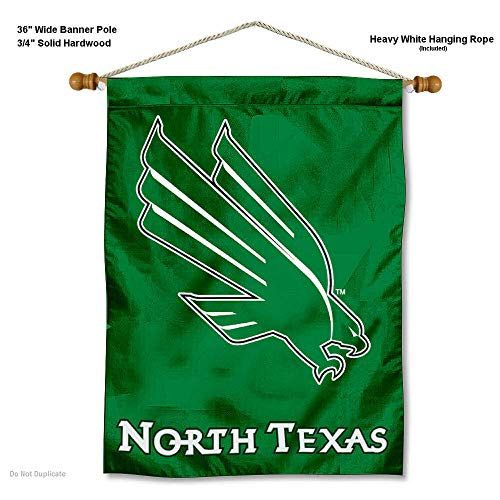 College Flags and Banners Co. North Texas Mean Green Banner with Hanging Pole (Unt Flag)