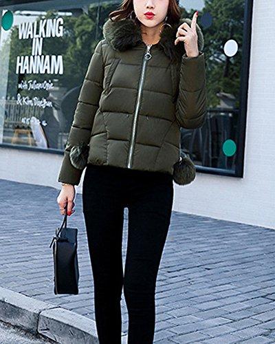 Grandi Delle Verde Sottile Cotone Giacca Di Donne Collare Dimensioni Grande Corta Imbottito Giubbotto fqt8PHx8w