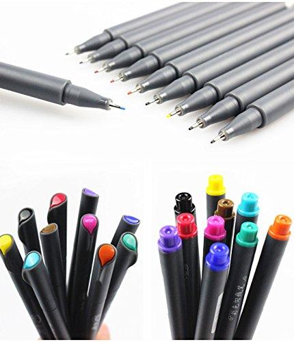 0.38mm Ultra Fine Felt Tips Colored Pen, Fineliner Color Pen Set,Fine Liner Sketch Drawing Pen,Finepoint Art Markers,Pack of 10 Assorted Colors