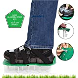 Wealers Green Spiked Lawn Aerator Foot Shoe Set, with Heavy Duty Metal Buckles and 3 Straps