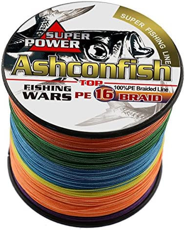 Ashconfish Braided Fishing Line-16 Strands Hollow Core Fishing Wire 1000M 1093Yards- Abrasion Resistant Incredible Superline Zero Stretch Ultrathin Diameter Woven Thread