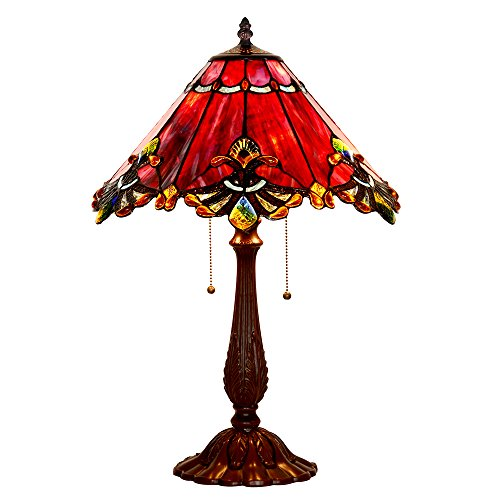 Bieye Tiffany Style Stained Glass Baroque Table Lamp with Zinc Lamp Base and 17 inches Handmade Lamp Shade (Red)
