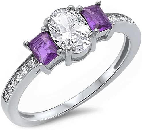 Oval Shape Simulated Amethyst & Cubic Zirconia .925 Sterling Silver Ring Sizes 5-10