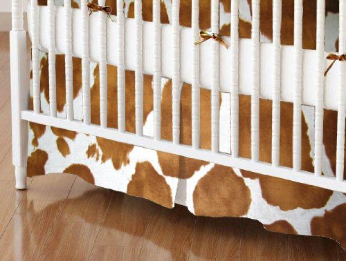 SheetWorld Crib Skirt (28 x 52) - Brown Cow - Made In USA