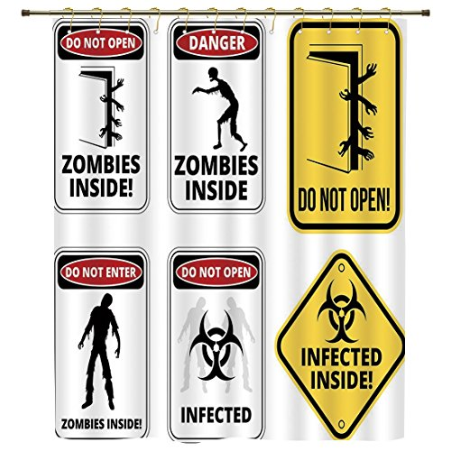 iPrint Shower Curtain,Zombie Decor,Warning Signs for Evil Creatures Paranormal Construction Do Not Open Artwork,Multicolor,Polyester Shower Curtains Bathroom Decor Sets with Hooks by iPrint