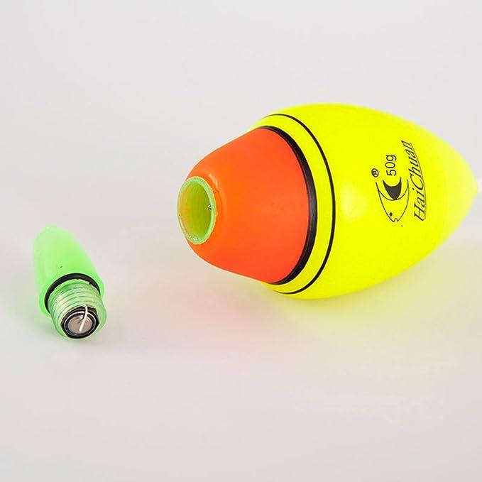 VORCOOL Flotadores Luminosos de Pesca Nocturna para Pescar con Bater/ía 50G