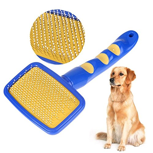 (Dog Grooming Dog Grooming Pet Needle Comb for Dogs Cats Long Handle Plastic Dog Hair Brush Polisher Pet Dog Grooming Pet Supplies Product)
