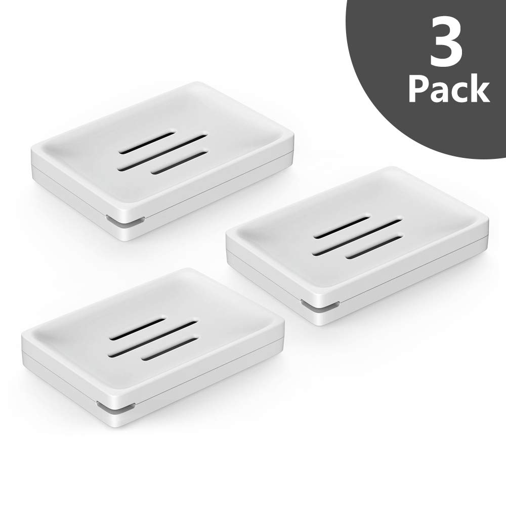 Luvan Soap Dishes case Holder for Bathroom with Drain,Detachable for Easy Cleaning,Made of Food-Grade ABS Plastic,BPA-Free,Keep Soap Dry and Clean,No More Mushy Soap (White,Set of 3)
