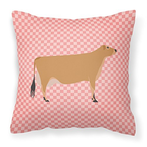 Caroline's Treasures BB7829PW1414 Jersey Cow Pink Check Outdoor Canvas Fabric Decorative Pillow, 14