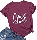 Women Chaos Coordinator Letters Print Funny T-Shirt Short Sleeve Casual Tops Tee Size XL (Burgundy)