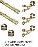 2' OD Brass Bar Mount Foot Rail Kit - 6 ft