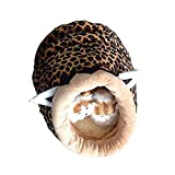 Rumfo Pet Waterloo Cute Animal Shape Mongolia Bag Soft Warm Short Plush Washable and Detachable Pet Dog Bed House kennel With Pad (Leopard)