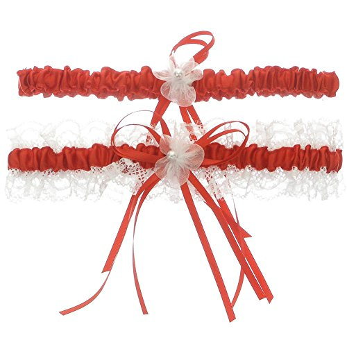 DivaDesigns Lace Ruffle Faux Pearl Chiffon Floral Ribbon Wedding Garter with Toss Away Red