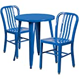 Flash Furniture 24'' Round Blue Metal Indoor-Outdoor Table Set with 2 Vertical Slat Back Chairs
