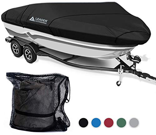 Leader Accessories 600D Polyester 5 Colors Waterproof Trailerable Runabout Boat Cover Fit V-hull Tri-hull Fishing Ski Pro-style Bass Boats,Full Size (20'-22'L Beam Width up to 100'', ()