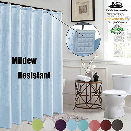 ROYACOR Fabric Shower Curtain with 12 Polyresin Hooks, Water-Repellent Rustproof Bath Curtain, 72x72 Non Toxic 100% Durable Polyester Shower Curtain Liner, Machine Washable,Easy to Install-Light Blue (Light Blue Shower Curtain Liner)