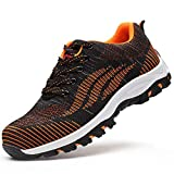 SUADEX Work Shoes Men, Breathable Womens Steel Toe Shoes Lightweigh Comfortable Toe Sneakers Puncture Proof Construction Safety Shoes