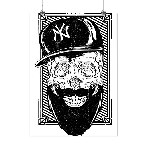 NYC Skull Baseball Sports Beard Matte/Glossy Poster A2 (17x24 inches) | Wellcoda