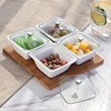salsa bowl with lid - White Ceramic Relish Serving Bowl Set with Glass Lids & Bamboo Tray, Set of 4