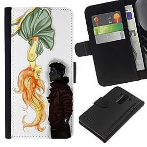 For LG G3 Case , Boy Cute Valentines Drawing Love - la tarjeta de Crédito Slots PU Funda de cuero Monedero caso cubierta de piel
