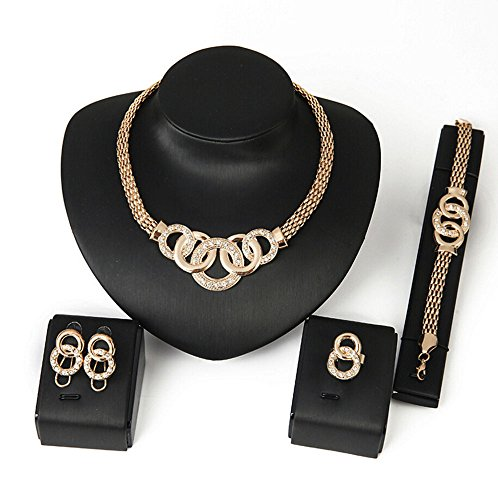 Crystal Flush Mount Gold Plated (Most Beloved Women African Golden Ring Gold PlatedStyle Jewelry Set)