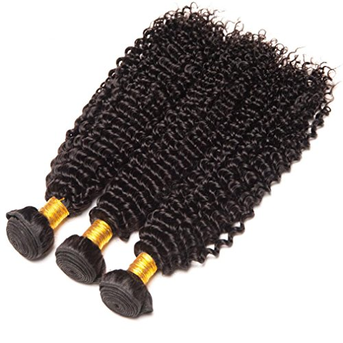 Shireen 10A Brazilian Curly Hair Weave 3 Bundles (20 22 24,300g) Virgin Kinky Curly Human Hair Weave 100% Unprocessed Hair Weft Extensions Natural Black Color by Shireen Hair (Image #1)