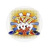 Casino Dice Chips Poker Illustration Anti-slip Floor Pet Mat Round Bathroom Living Room Kitchen Door 80cm Gift