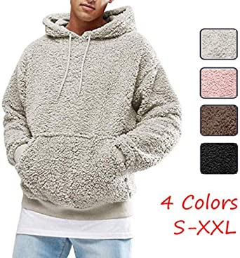 HUAZONG Mens Fluffy Hoodies Fuzzy Unisex Sherpa Loose Fluffy Sweatshirt Outerwear Pullover Warm Jumper Coat Jacket Blouse Hooded Tops