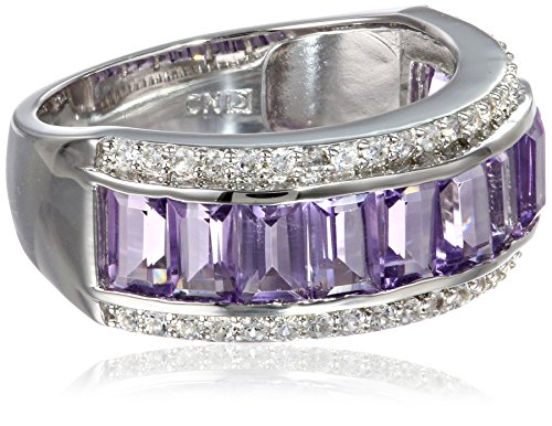 Sterling Silver 3.33, Cttw Amethyst and Created White Sapphire Semi Eternity Ring, Size 7 from Amazon Collection