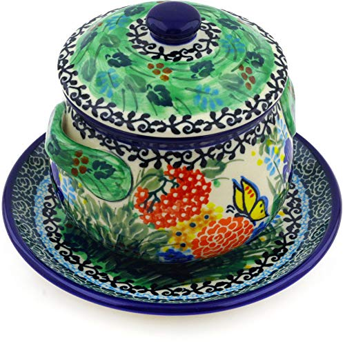 Polish Pottery 12 oz Bouillon Cup with Lid and Saucer made by Ceramika Artystyczna (Butterfly Garden Theme) Signature UNIKAT + Certificate of Authenticity ()